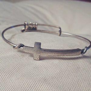 alex and ani silver cross bracelet.